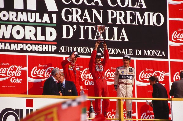 1989 Italian Grand Prix.Monza, Italy.8-10 September 1989.Alain Prost (McLaren Honda) 1st position, Gerhard Berger (Ferrari) 2nd position and Thierry Boutsen (Williams Renault) 3rd position on the podium.Ref-89 ITA 03.World Copyright - LAT Photographic