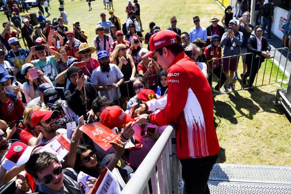 Charles Leclerc, Ferrari signs autographs