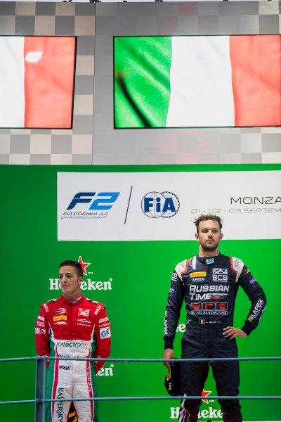 2017 FIA Formula 2 Round 9. Autodromo Nazionale di Monza, Monza, Italy. Saturday 2 September 2017. Antonio Fuoco (ITA, PREMA Racing), Luca Ghiotto (ITA, RUSSIAN TIME).  Photo: Zak Mauger/FIA Formula 2. ref: Digital Image _T9I0805