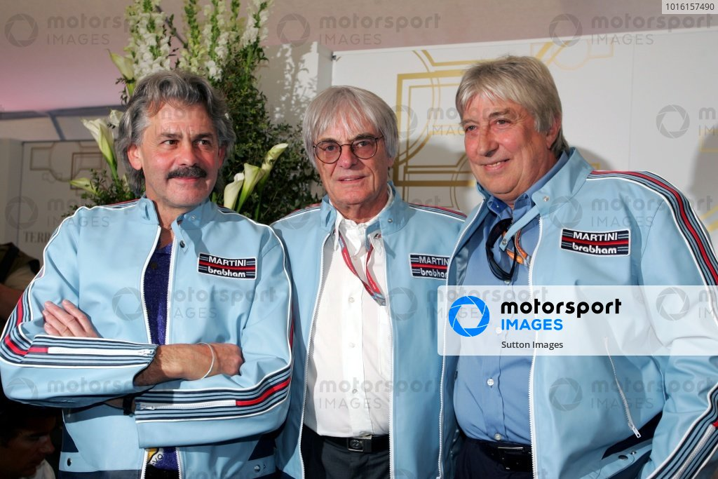 (L to R): Gordon Murray (RSA) Former F1 Designer with Bernie Ecclestone (GBR) F1 Supremo and Herbie Blash (GBR) FIA Observer at a Martini drinks event. Formula One World Championship, Rd4, San Marino Grand Prix, Practice Day, Imola, Italy, 21 April 2006. DIGITAL IMAGE