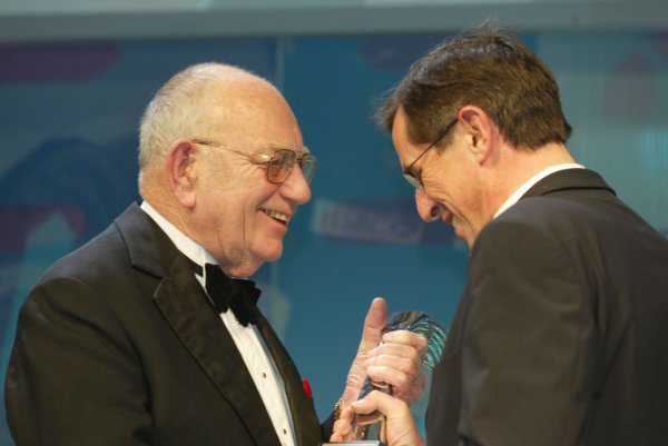 2003 AUTOSPORT AWARDS, The Grosvenor, London. 7th December 2003.Tom Wheatcroft presents Rally Car of the year to Citroen sporting manager, Francois Chatriot.Photo: Peter Spinney/LAT PhotographicRef: Digital Image only