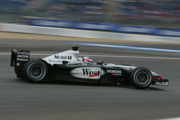 2003 European Grand Prix - Saturday Qualifying, Nurburgring, Germany.28th June 2003.Kimi Raikkonen, Team McLaren Mercedes MP4/17D, action.World Copyright LAT Photographic.Digital Image Only.