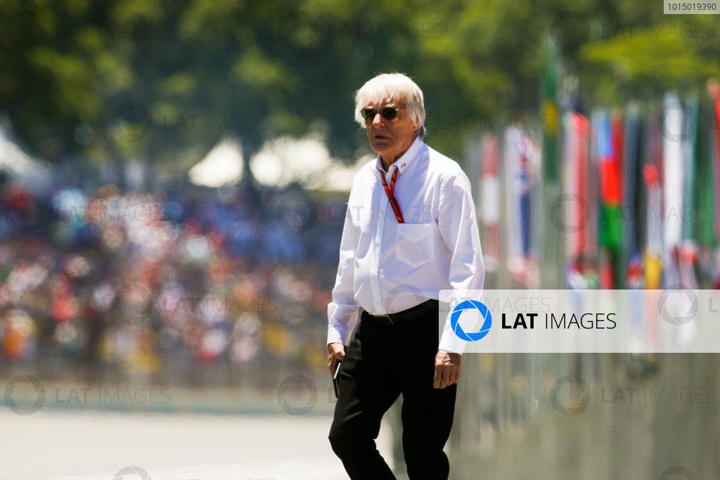 Interlagos, Sao Paulo, Brazil. Sunday 12 November 2017. Bernie Ecclestone, Chairman Emiritus of Formula 1. World Copyright: Charles Coates/LAT Images  ref: Digital Image DJ5R2404
