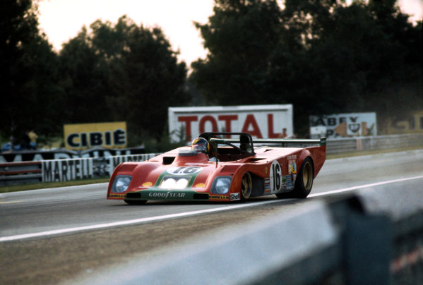 Le Mans, France. 9-10 June 1973.Arturo Merzario/Carlos Pace (Ferrari 312PB), 2nd position, action. World Copyright: LAT PhotographicRef: 73LM01