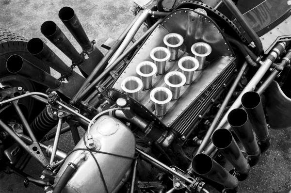 The V8 BRM engine powering the BRM P57 of Graham Hill (GBR).