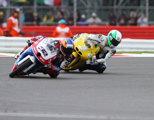 British Grand Prix.  Silverstone, England. 15th-17th June 2012.  Moto3. Isaac Vinales, FTR Honda, leads Luigi Morciano, Ioda.  World Copyright: Kevin Wood/LAT Photographic.  ref: Digital Image IMG_8794a
