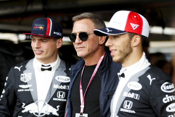 Max Verstappen, Red Bull Racing, Daniel Craig, Actor and Pierre Gasly, Red Bull Racing