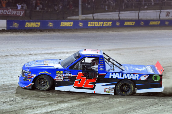 #52: Stewart Friesen, Halmar Friesen Racing, Chevrolet Silverado Halmar International celebrates his win
