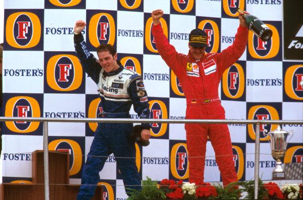 Nurburgring, Germany.26-28 April 1996.Jacques Villeneuve (Williams Renault) 1st position and Michael Schumacher (Ferrari) 2nd position on the podium.Ref-96 EUR 08.World Copyright - LAT Photographic