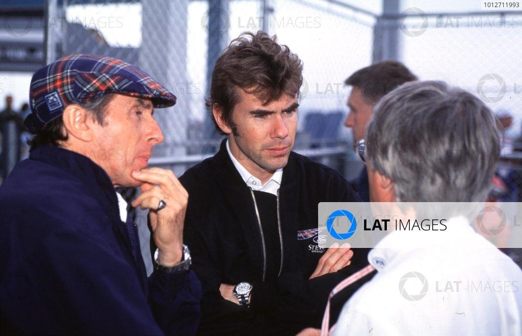 1998 Brazilian Grand Prix.Interlagos, Sao Paulo, Brazil.27-29 March 1998.Jackie and Paul Stewart with Bernie Ecclestone.World Copyright - Elford/LAT Photographic
