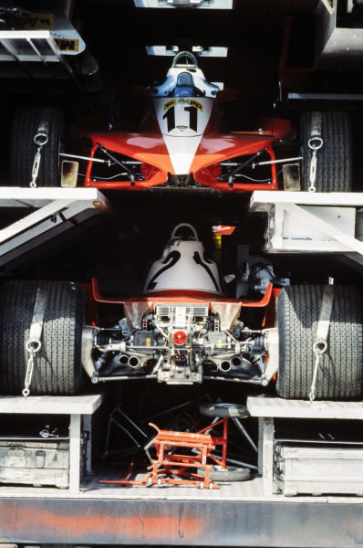 The Ferrari 312T3 cars of Carlos Reutemann and Gilles Villeneuve in the team's transporter.