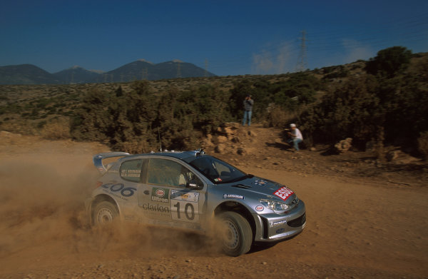 Marcus Gronholm in action in the Peugeot 206 WRC.Acropolis Rally June, 2000.Photo:McKlein/LAT