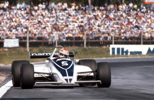 1981 Argentinian Grand Prix.Buenos Aires, Argentina.10-12 April 1981.Nelson Piquet (Brabham BT49C Ford) 1st position.Ref-81ARG 05.World Copyright - LAT Photographic