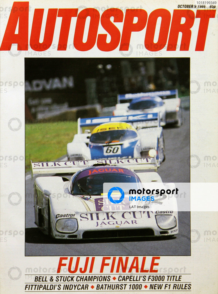 Cover of Autosport magazine, 9th October 1986