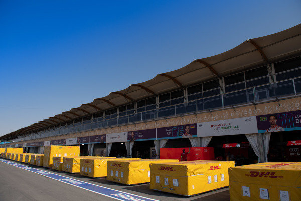 Pit lane with freight crates