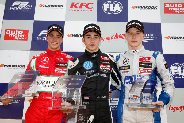 FIA F3 European Championship Hockenheim, Germany 1st - 3rd May 2015 Rookie prize giving ceremony, 27 Mikkel Jensen (DNK, kfzteile24 Mücke Motorsport, Dallara F312 – Mercedes-Benz), 7 Charles Leclerc (MCO, Van Amersfoort Racing, Dallara F312 – Volkswagen), 28 Maximilian Günther (DEU, kfzteile24 Mücke Motorsport, Dallara F312 – Mercedes-Benz). (Race 3). Copyright Free FOR EDITORIAL USE ONLY. Mandatory Credit: FIA F3. ref: Digital Image FIAF3-1430677984