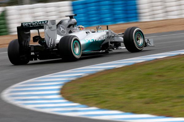 2014 F1 Pre Season Test 1 - Day 4 Circuito de Jerez, Jerez, Spain. Friday 31 January 2014. Lewis Hamilton, Mercedes W05. World Copyright: Andrew Ferraro/LAT Photographic. ref: Digital Image _79P7791.JPG