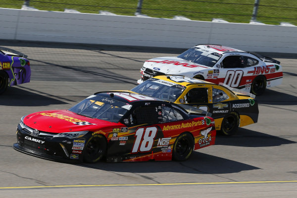 #18: Riley Herbst, Joe Gibbs Racing, Toyota Camry Advance Auto Parts, #42: John Hunter Nemechek, Chip Ganassi Racing, Chevrolet Camaro Chevrolet Accessories and #00: Cole Custer, Stewart-Haas Racing, Ford Mustang Haas Automation