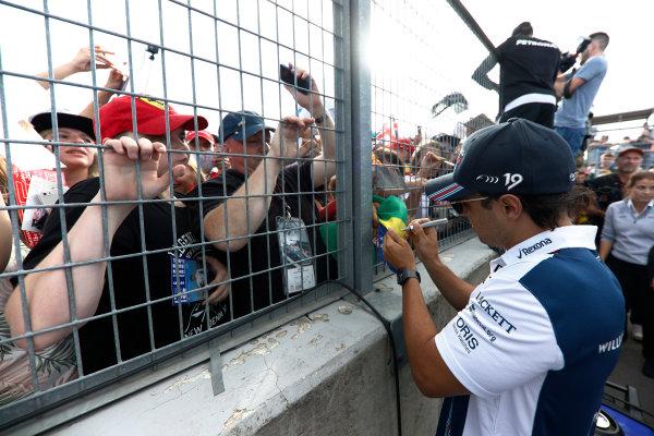 Hungaroring, Budapest, Hungary.  Thursday 27 July 2017. Felipe Massa, Williams Martini Racing, signs autographs for fans. World Copyright: Glenn Dunbar/LAT Images  ref: Digital Image _X4I9235
