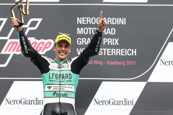 2017 Moto3 Championship - Round 11 Spielberg, Austria Sunday 13 August 2017 Podium: Race winner Joan Mir, Leopard Racing World Copyright: Gold and Goose / LAT Images ref: Digital Image 686810