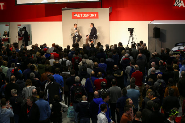 Autosport International Exhibition. National Exhibition Centre, Birmingham, UK. Sunday 14th January 2018. A scenic view of the show, with Nigel Mansell on the Autosport Stage. World Copyright: Mike Hoyer/JEP/LAT Images Ref: MDH10157
