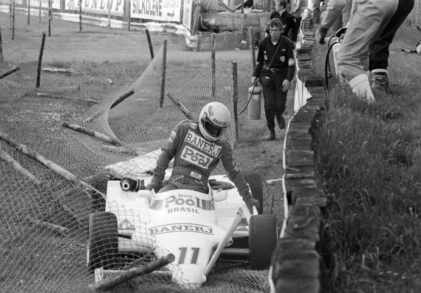 Ayrton Senna (BRA) West Surrey Racing Ralt RT3/83 Toyota climbs out of the car after crashing into the catch fencing at Woodcote. British Formula 3 Championship, Silverstone, England, 12 June 1983.
