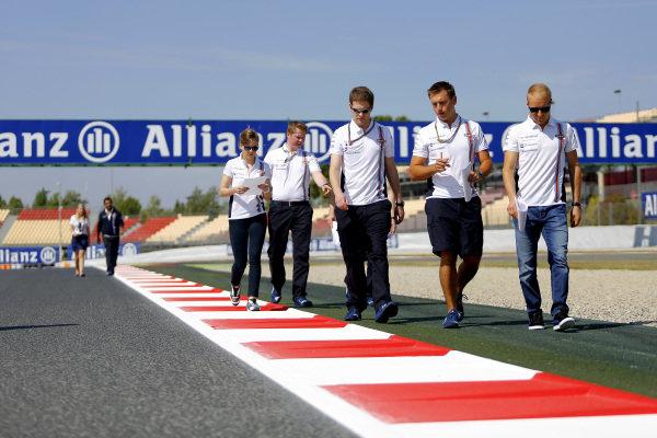Valtteri Bottas (FIN) Williams and Susie Wolff (GBR) Williams Development Driver walk the track. Formula One World Championship, Rd5, Spanish Grand Prix, Preparations, Barcelona, Spain, Thursday 8 May 2014.