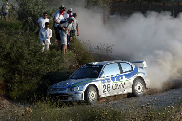 Manfred Stohl in action in the Hyundai Accent WRC, Acropolis Rally 2003.Photo: McKlein/LAT