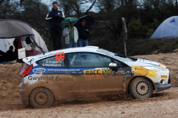 Elfyn Evans (GBR) and Sebastian Marshall (GBR), Ford Fiesta R2 on stage 2. FIA World Rally Championship, Rd13, Rally de Espana, Salou, Catalunya, Spain, Day One, Friday 9 November 2012.