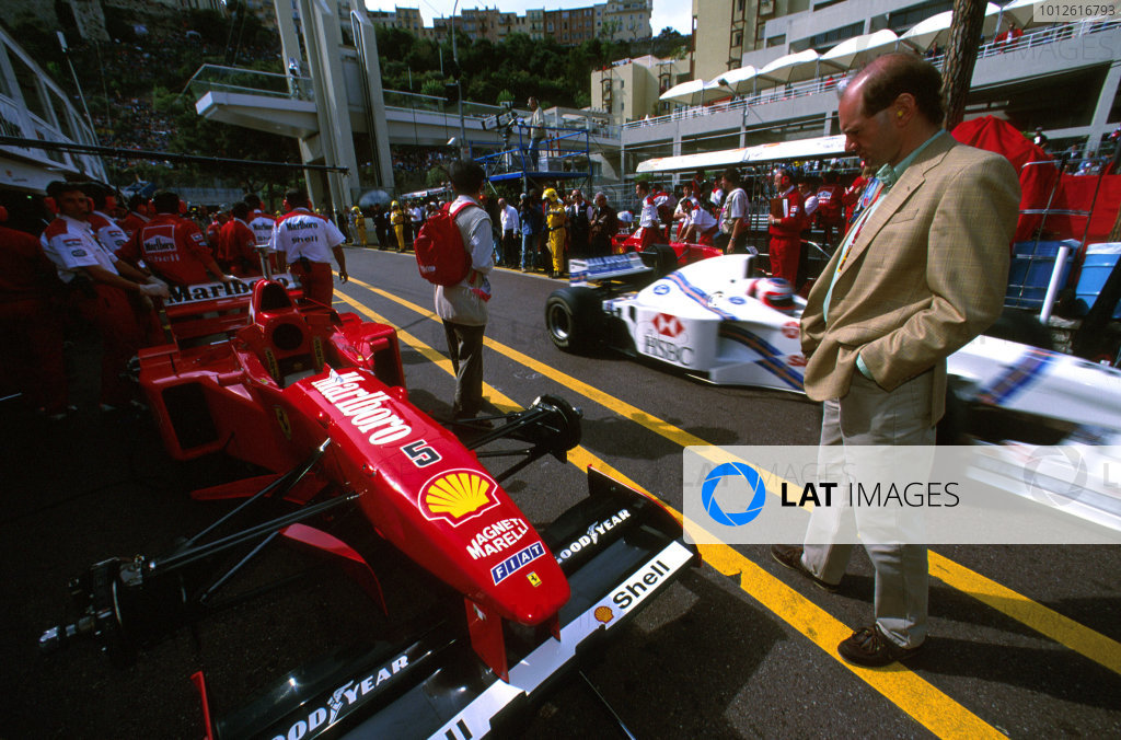 Monte Carlo, Monaco.8-11 May 1997.Adrian Newey takes a look at the Ferrari F310B, before officially joining the McLaren team from Williams.Ref-97 MON 05.World Copyright - LAT Photographic