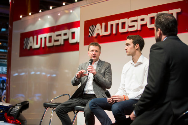 Autosport International Exhibition. National Exhibition Centre, Birmingham, UK. Friday 9 January 2015. Allan McNish and Harry Tincknell on the Autosport stage. World Copyright: Malcolm Griffiths/LAT Photographic. ref: Digital Image A50A1451