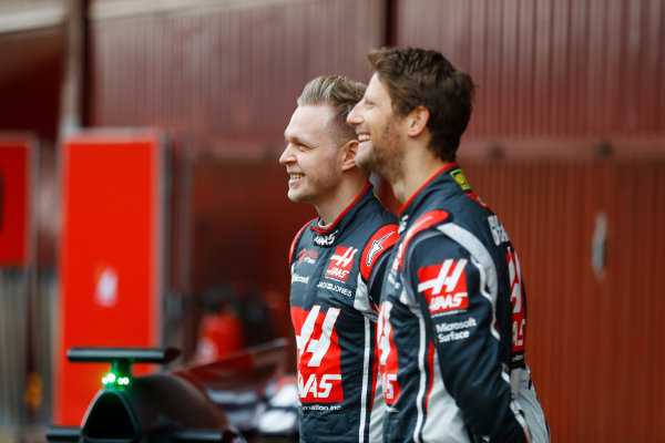HAAS F1 Car Formula 1 Launch. Barcelona, Spain  Monday 27 February 2017. Romain Grosjean, Haas F1. and Kevin Magnussen, Haas F1  World Copyright: Dunbar/LAT Images Ref: _O3I5166