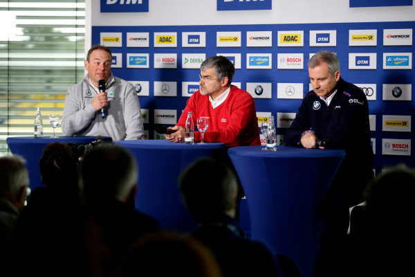 2017 DTM Testing & Media Day Hockenheim, Germany. Thursday 6 April 2017. Ullrich Fritz, Team principal Mercedes-AMG HWA, Dieter Gass, Head of DTM Audi Sport, Jens Marquardt, BMW Motorsport Director. World Copyright: Alexander Trienitz/LAT Images ref: Digital Image 2017-DTM-MD-HH-AT1-0126