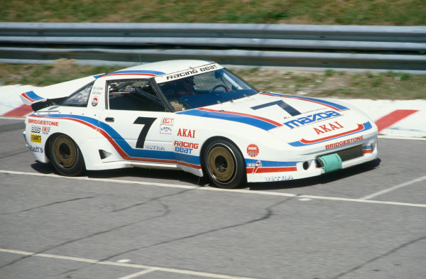 Mosport Park, Ontario, Canada. 14th August 1983. Rd 14.Rick Knoop/John Morton (Mazda RX-7), 3rd position, action. World Copyright: Bill Murenbeeld/LAT Photographic.Ref:  83IMSA 01