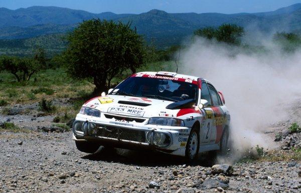 Richard Burns (GBR) Mitsubishi Carisma GT took his debut win. FIA World Rally Championship, Safari Rally, Nairobe, Kenya, 28 February - 2 March 1998.