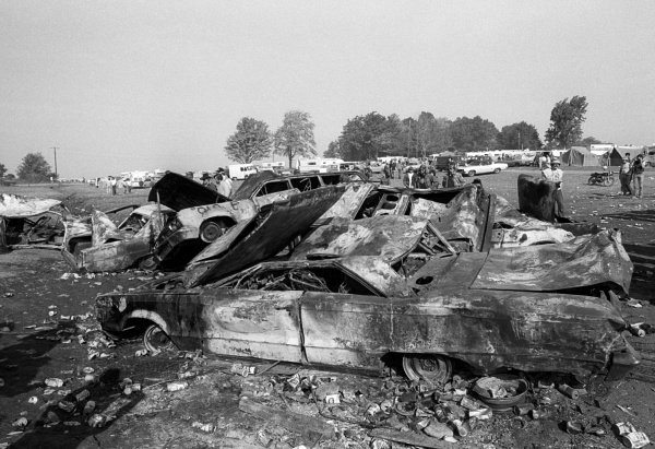 Burnt-out exhibits from the infamous Bog.