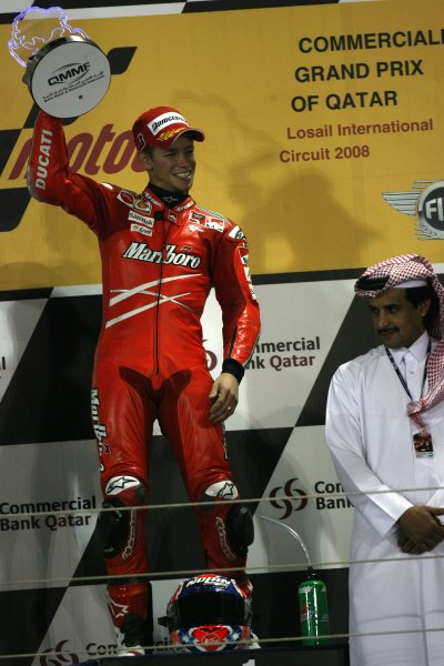 2008 MotoGP. Losail, Qatar. 7th - 9th March 2008. Rd 1. Casey Stoner, Ducati, 1st position, podium. World Copyright: Martin Heath/LAT Photographic. Ref: Digital Image Only.