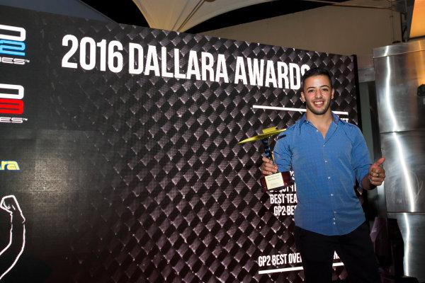 2016 GP2/3 Awards Evening. Yas Marina Circuit, Abu Dhabi, United Arab Emirates. Sunday 27 November 2016. Antonio Fuoco Photo: Sam Bloxham/GP2 Series Media Service/GP3 Series Media Service. ref: Digital Image _SLA9827