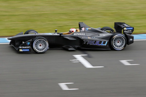 FIA Formula E Test Day, Donington Park, UK.  3rd - 4th July 2014.  Jarno Trulli, Trulli GP. Photo: Zak Mauger/FIA Formula E ref: Digital Image _L0U4655