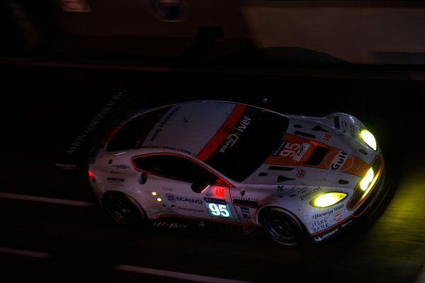 2014 Le Mans 24 Hours. Circuit de la Sarthe, Le Mans, France. Saturday 14 June 2014. Kristian Poulsen (DNK), David Heinemeier Hansson (DNK), Nicki Thiim (DNK) - Aston Martin Racing, Aston Martin Vantage V8  Photo: Sam Bloxham/LAT ref: Digital Image _SBL2377