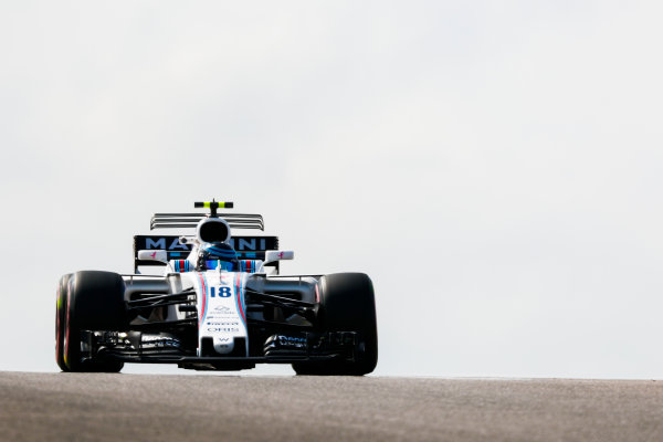 Circuit of the Americas, Austin, Texas, United States of America. Friday 20 October 2017. Lance Stroll, Williams FW40 Mercedes. World Copyright: Sam Bloxham/LAT Images  ref: Digital Image _W6I2431