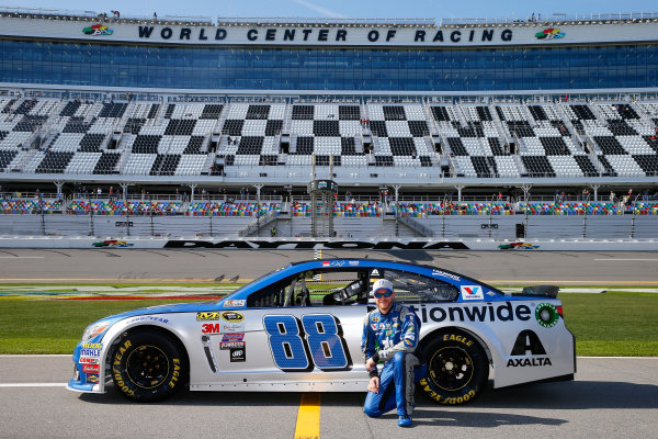 13-21 February, 2016, Daytona Beach, Florida USA   Dale Earnhardt Jr., driver of the #88 Nationwide Chevrolet, poses with his car after qualifying for the NASCAR Sprint Cup Series Daytona 500 at Daytona International Speedway on February 14, 2016 in Daytona Beach, Florida.   LAT Photo USA via NASCAR via Getty Images