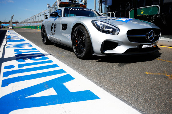 Albert Park, Melbourne, Australia. Wednesday 16 March 2016. The Mercedes Safety Car World Copyright: Andrew Hone/LAT Photographic. ref: Digital Image _ONZ9791