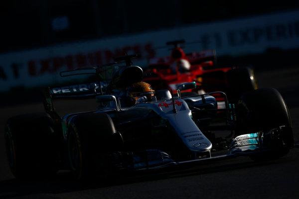 Baku City Circuit, Baku, Azerbaijan. Sunday 25 June 2017. Lewis Hamilton, Mercedes F1 W08 EQ Power+, leads Sebastian Vettel, Ferrari SF70H. World Copyright: Andrew Hone/LAT Images ref: Digital Image _ONY8680