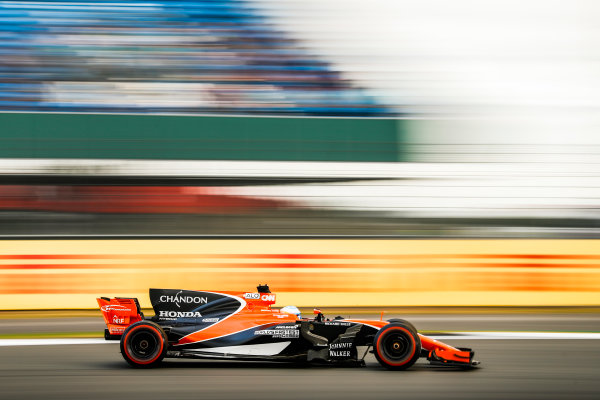 Silverstone, Northamptonshire, UK.  Friday 14 July 2017. Fernando Alonso, McLaren MCL32 Honda. World Copyright: Glenn Dunbar/LAT Images  ref: Digital Image _31I3438