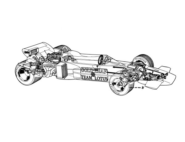 Lotus 72 Ford. Cutaway drawing.World Copyright: LAT Photographic.Ref:  B/WPRINT.