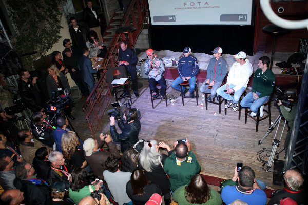 (L to R): Sergio Perez (MEX) McLaren; Pastor Maldonado (VEN) Williams; Esteban Gutierrez (MEX) Sauber; Adrian Sutil (GER) Force India F1; and Alexander Rossi (USA) Caterham, at the FOTA Austin Fans Forum. FOTA Austin Fans Forum, Cedar Street Courtyard, Austin, Texas, Wednesday 13 November 2013.