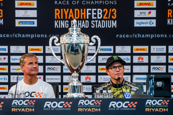 2018 Race Of Champions King Farhad Stadium, Riyadh, Abu Dhabi. Saturday 3 February 2018 Winner David Coulthard (GBR) and runner up Petter Solberg (NOR) in the post event press conference. Copyright Free FOR EDITORIAL USE ONLY. Mandatory Credit: 'Race of Champions'