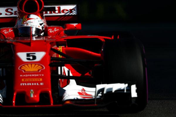 Yas Marina Circuit, Abu Dhabi, United Arab Emirates. Saturday 25 November 2017. Sebastian Vettel, Ferrari SF70H.  World Copyright: Glenn Dunbar/LAT Images  ref: Digital Image _X4I7410
