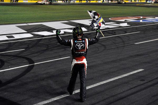 16-17 May, 2013, Concord, North Carolina USA Kyle Busch celebrates his win with a burnout ©2013, Nigel Kinrade LAT Photo USA